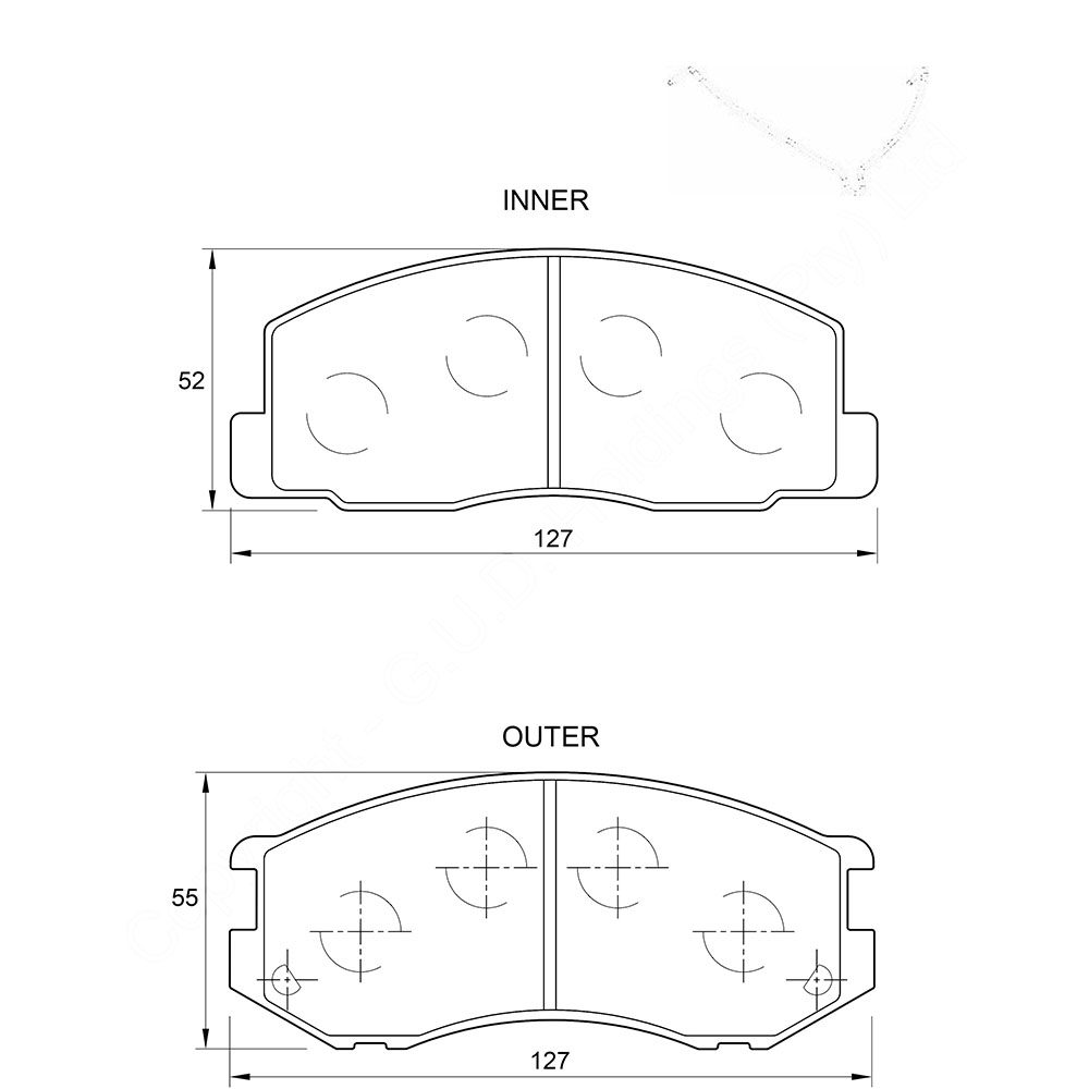 KBC Brake Pads (front) for Toyota Condor,Toyota Venture 1