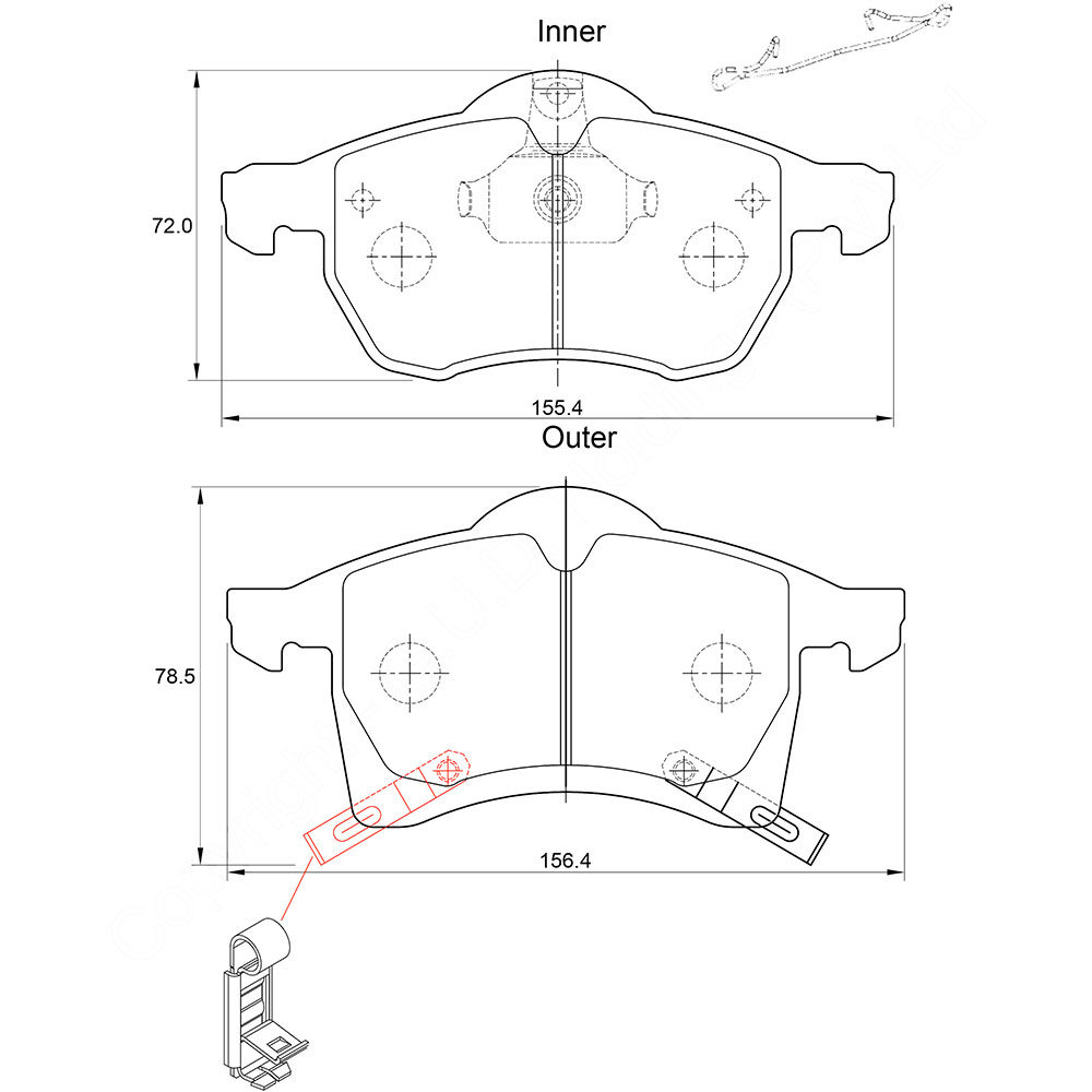 KBC Brake Pads (front) for Opel Classic, Opel Astra,Opel Zafira 1