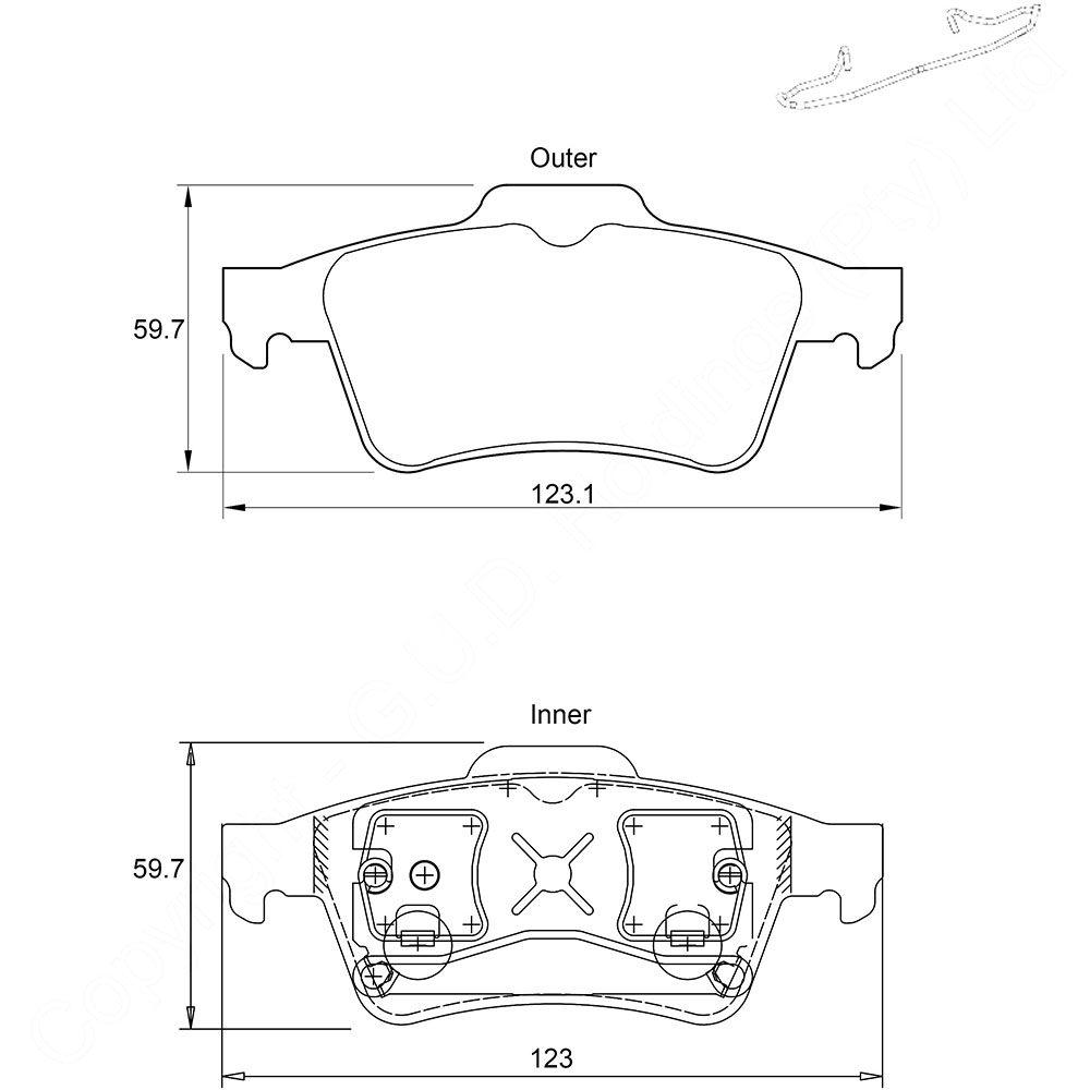KBC Brake Pads (rear) for Jaguar, Renault Laguna, Saab 1