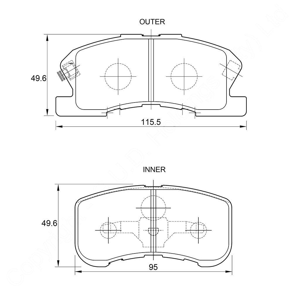 KBC Brake Pads (front) for Daihatsu Sirion,Daihatsu YRV 1