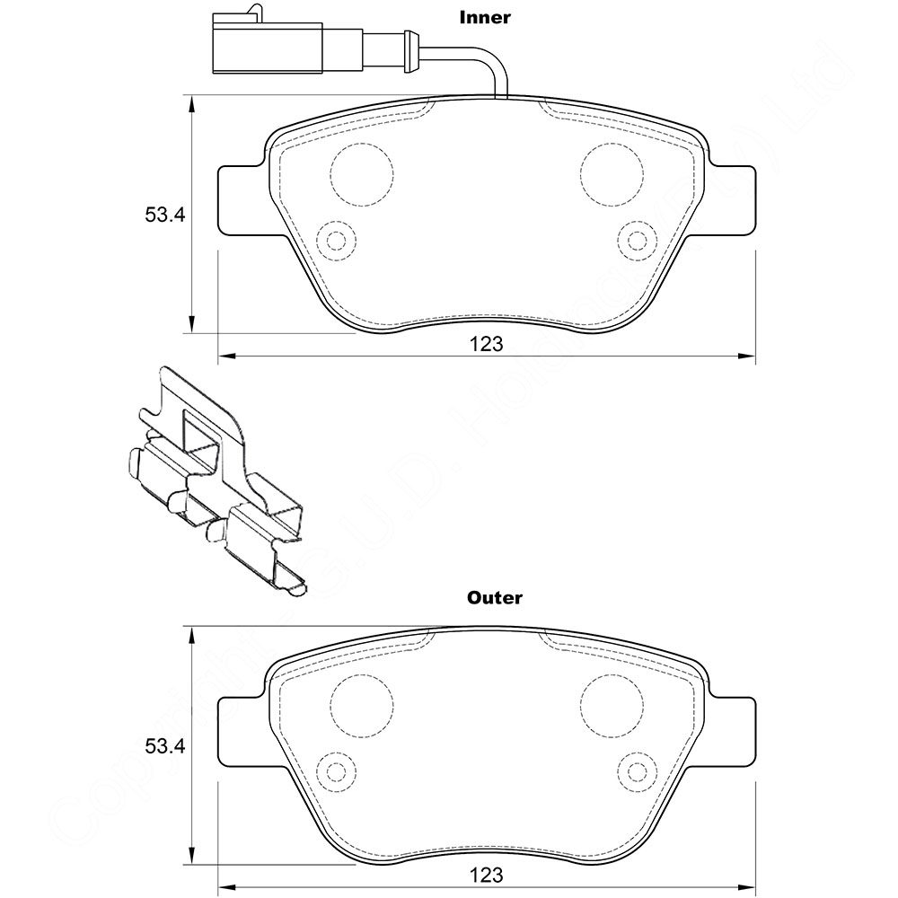 KBC Brake Pads (Front) for Fiat, (Rear) for VW 1
