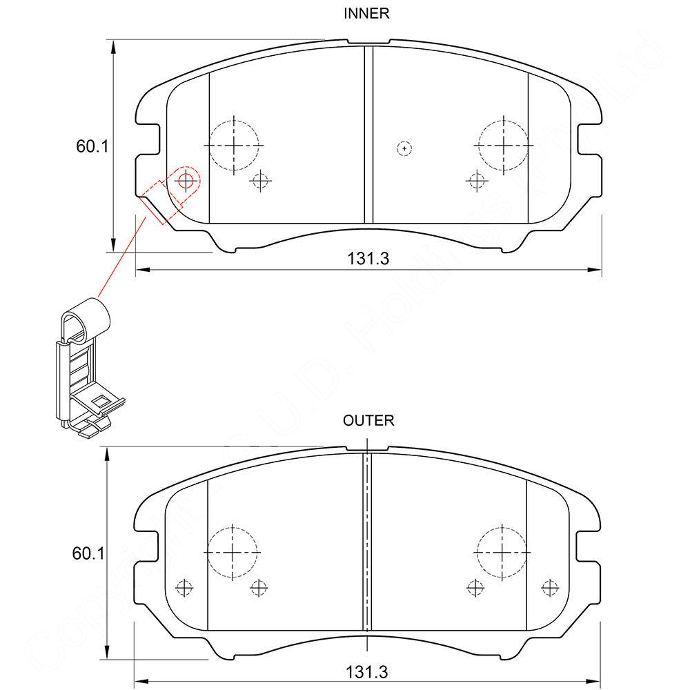 KBC Brake Pads (front) for, Hyundai 1