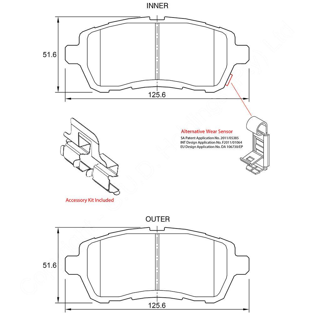 KBC Brake Pads (front) for Daihatsu, Ford, Mazda, Suzuki, Toyota 1