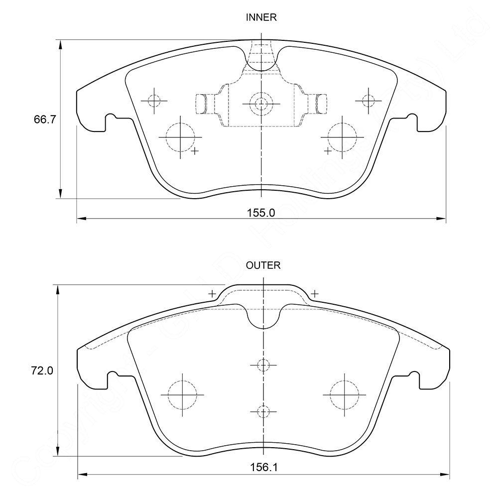 KBC Brake Pads (FRONT) for Audi, Citroen, Jaguar, Land Rover, Volvo 1