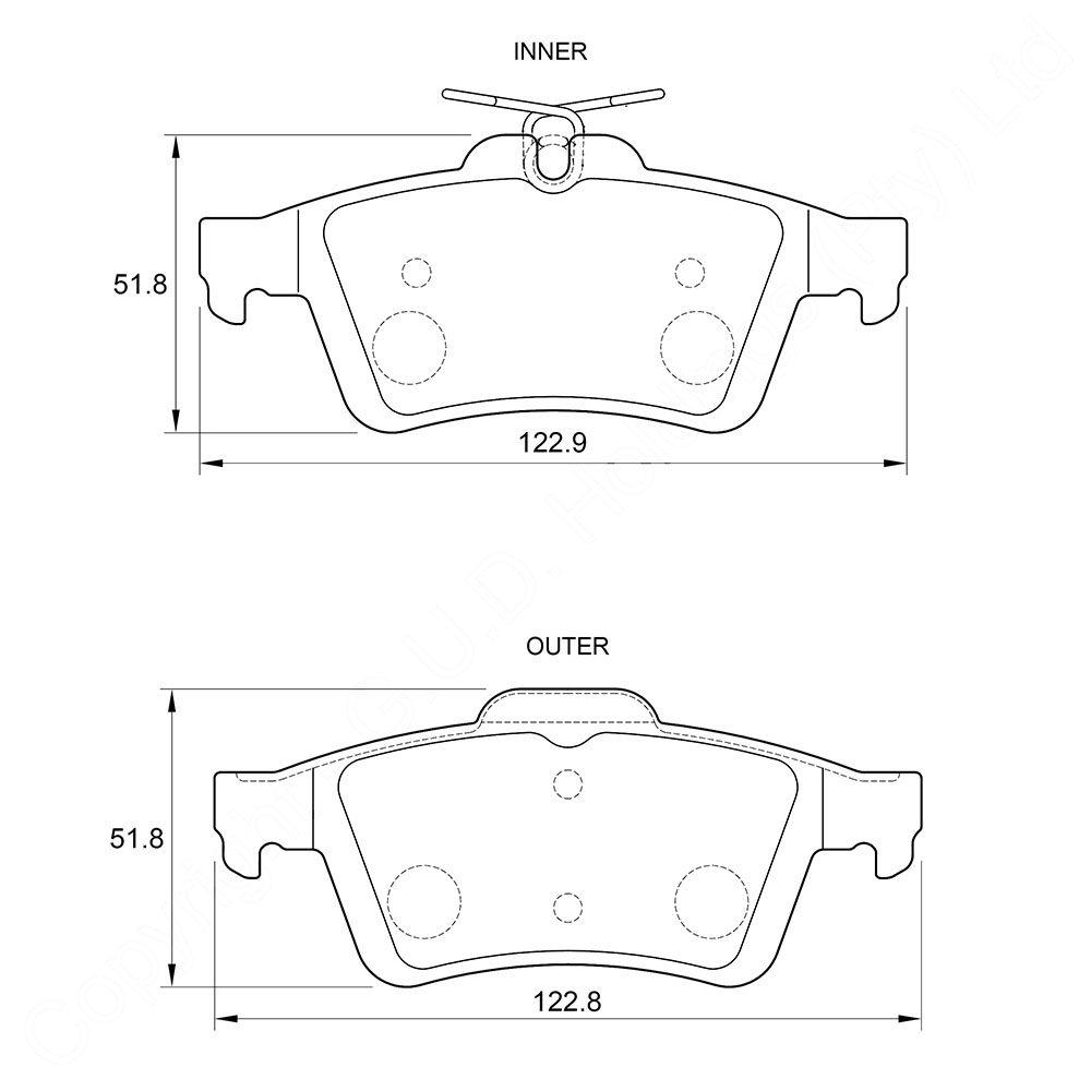 KBC Brake Pads (rear) for Chev, Mazda, Jaguar 1