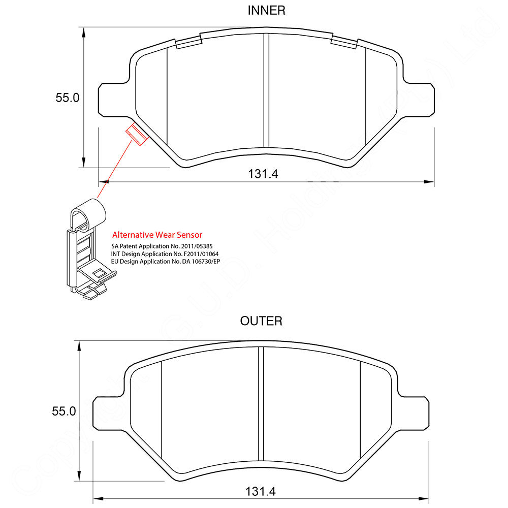 KBC Brake Pads (FRONT) for Cherry 1