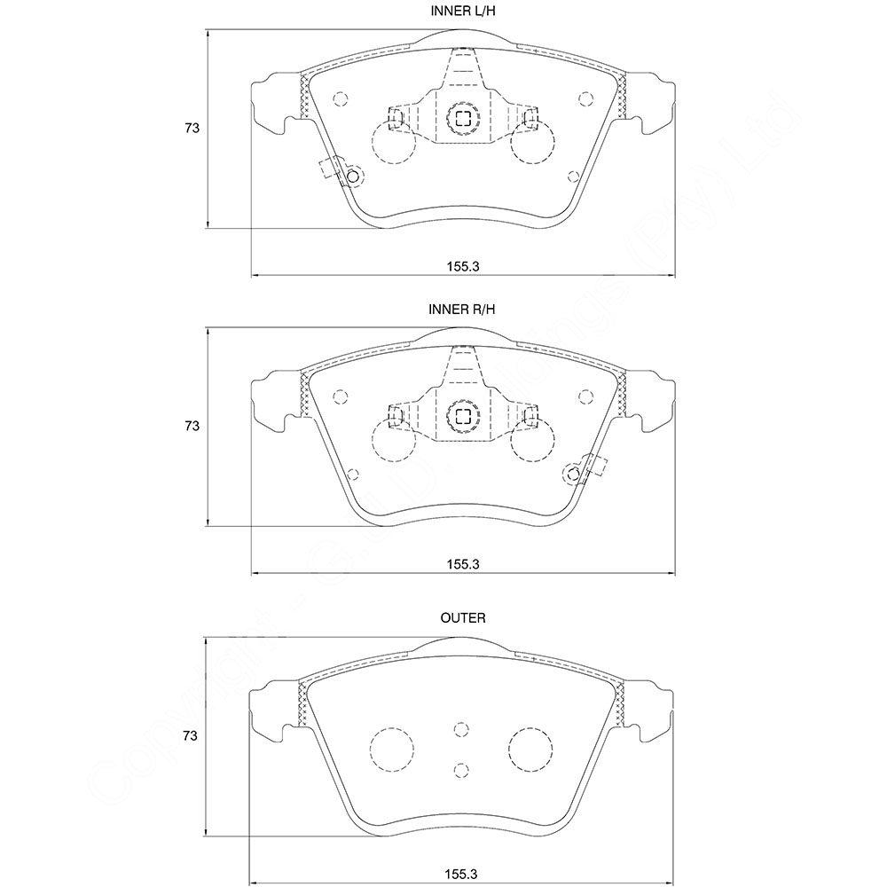 KBC Brake Pads (Front) for Ford, Mazda, Volvo 1
