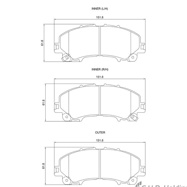 KBC Brake Pads (Front) for Infinity Q50, Nissan X-Trail 1
