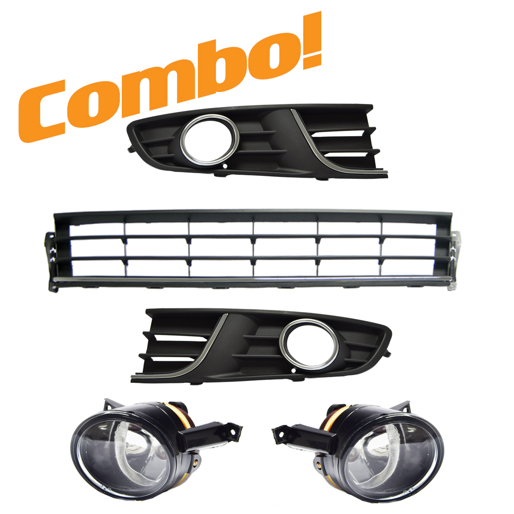 VW Polo Vivo 1 Bumper Grilles SET with Fog Lights (Chrome with Hole) 1